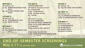 Schedule Spring 2014 End of Semester RTF Student Screenings